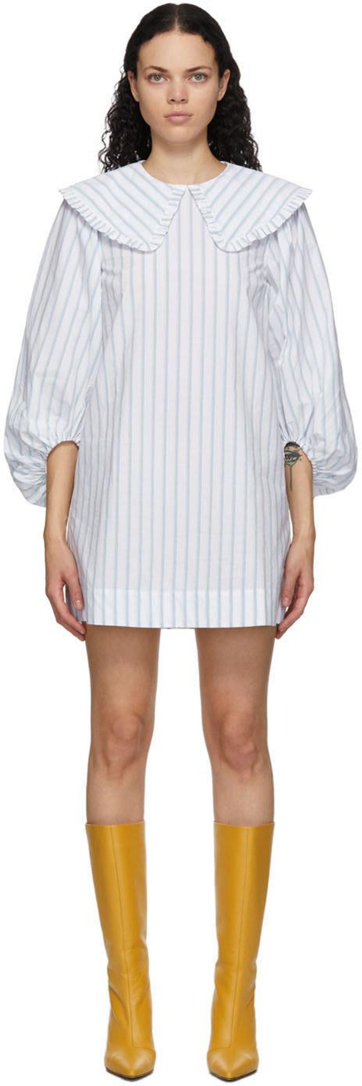 Striped Balloon Sleeve Dress