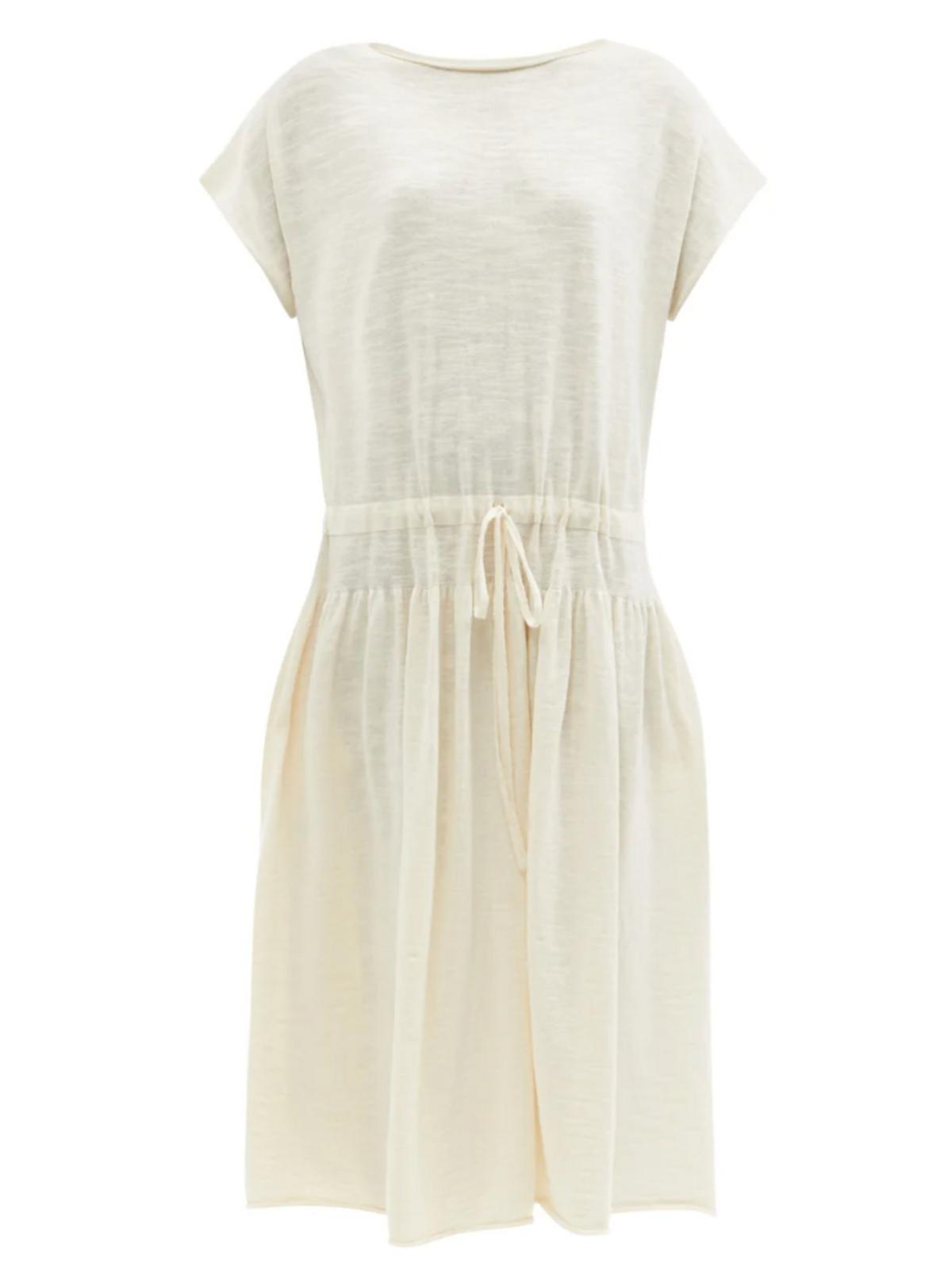 Tier Drawstring-waist Cotton-knit Dress