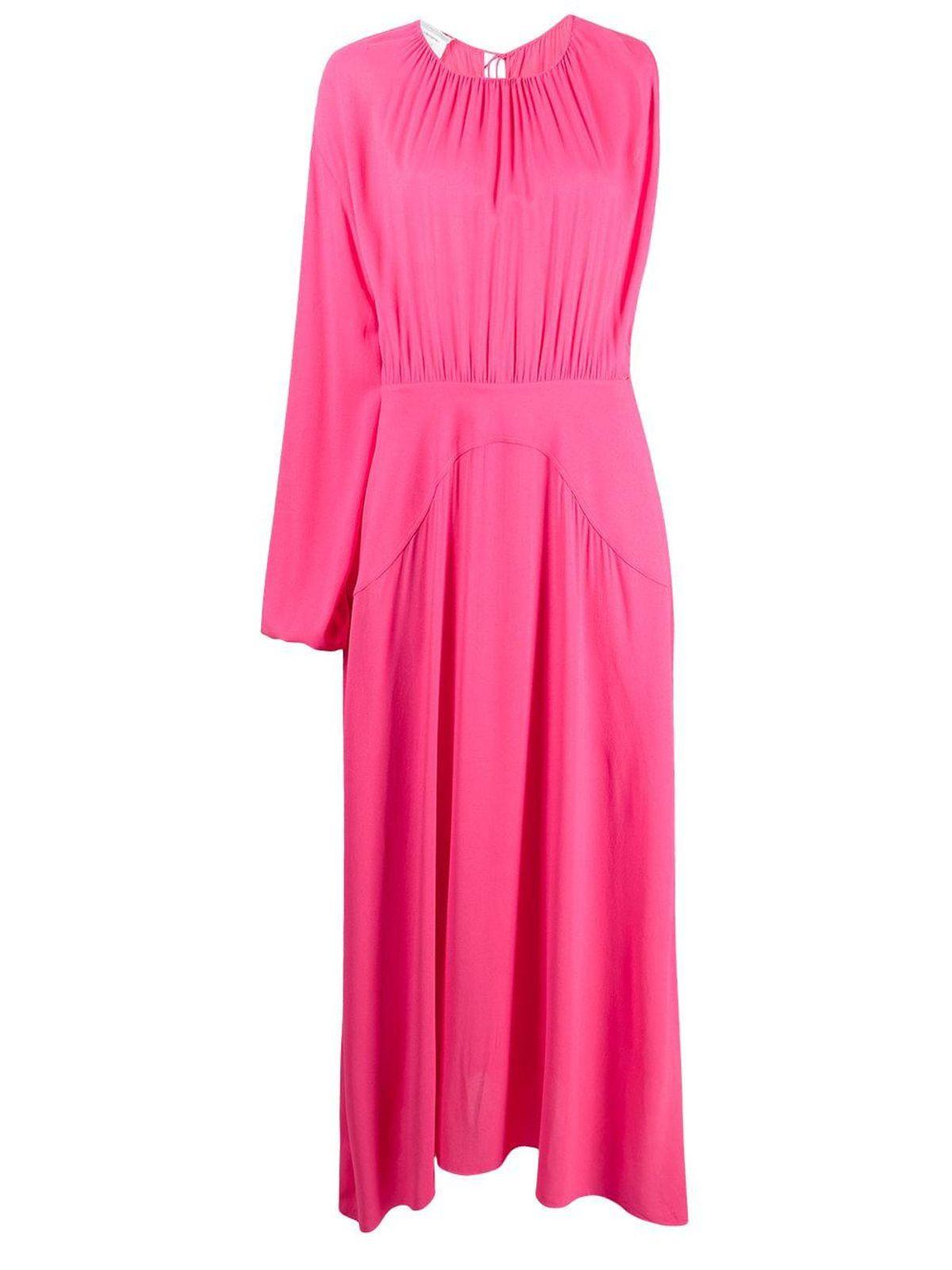 One-sleeve Gathered Maxi-dress