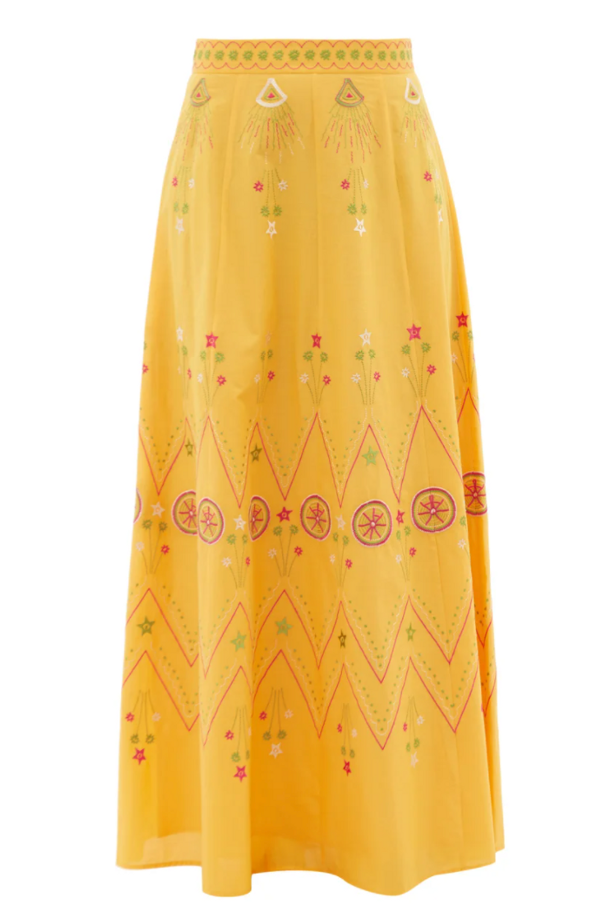 Camille Embroidered Cotton-poplin Maxi Skirt
