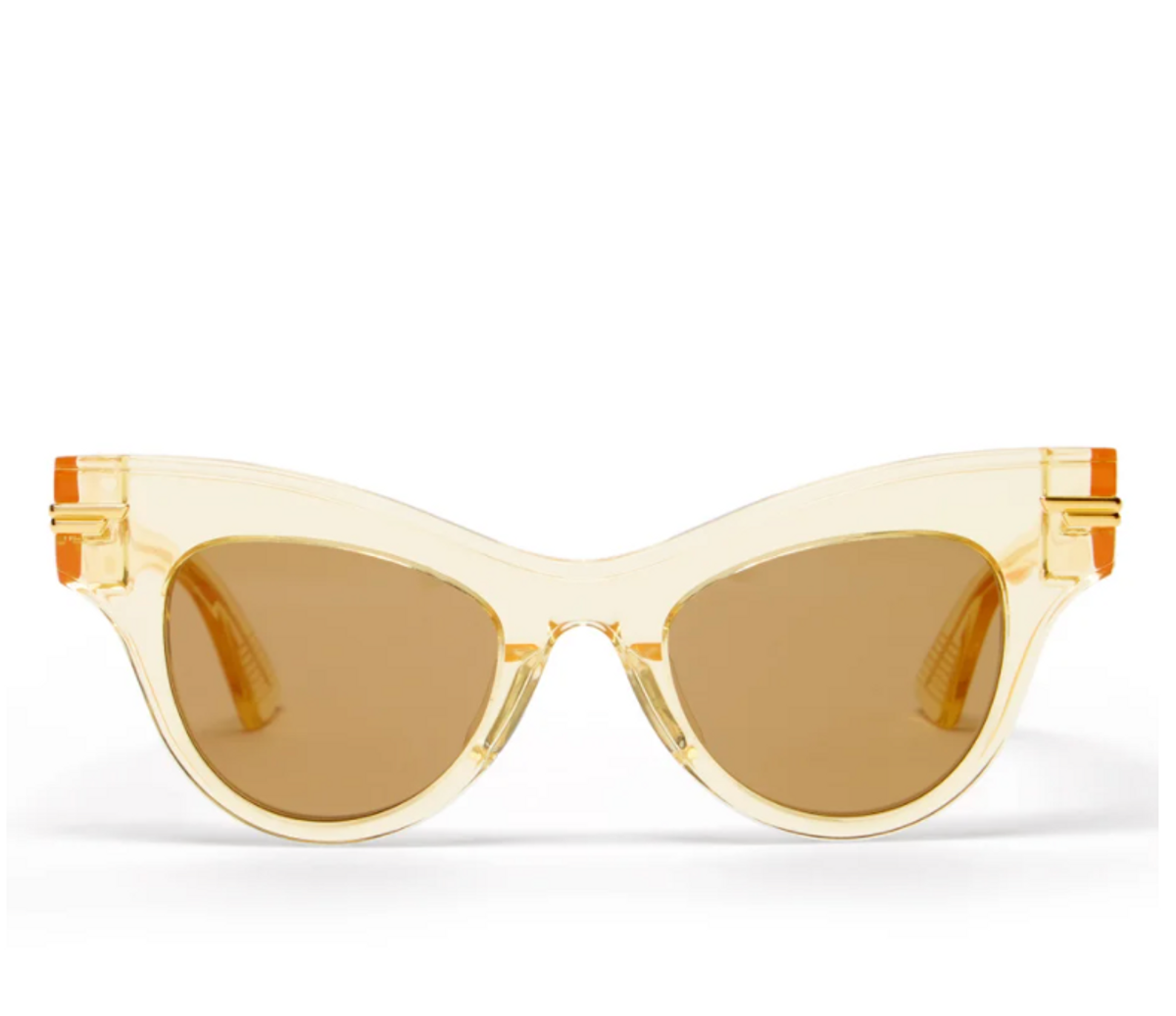 Cat-eye Clear Acetate and Metal Sunglasses