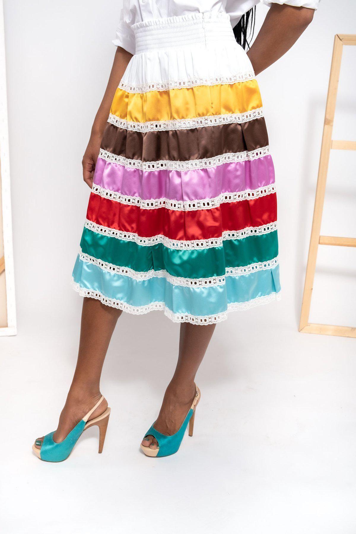 Multicolor Silk Satin Lace Skirt