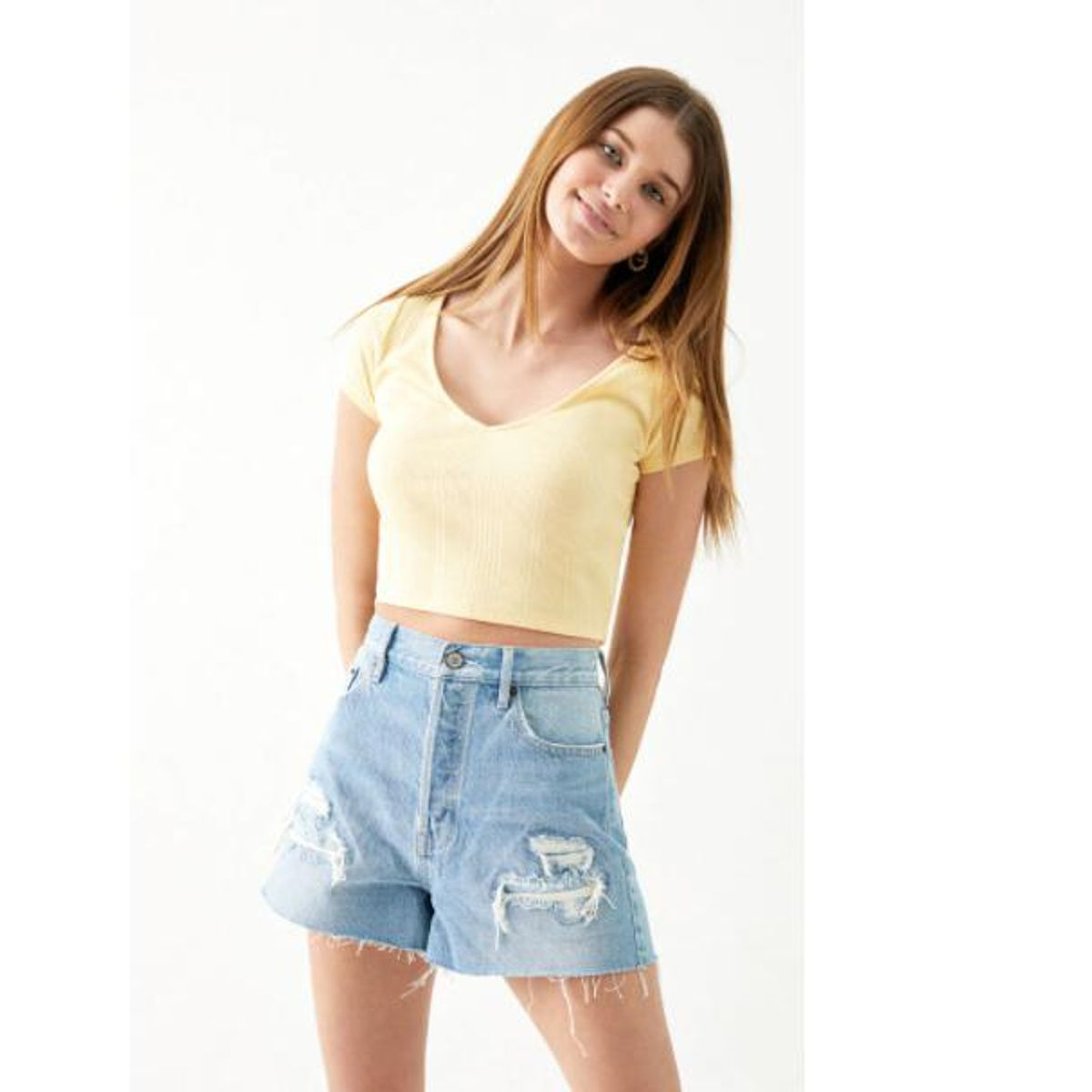 pacsun distressed ultra high waisted vintage denim shorts