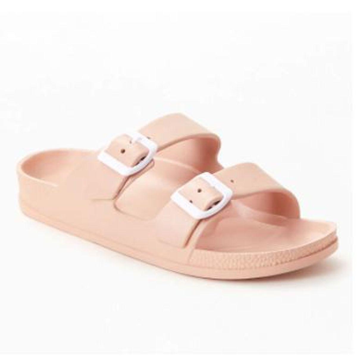 pacsun rubber double buckle slide sandals