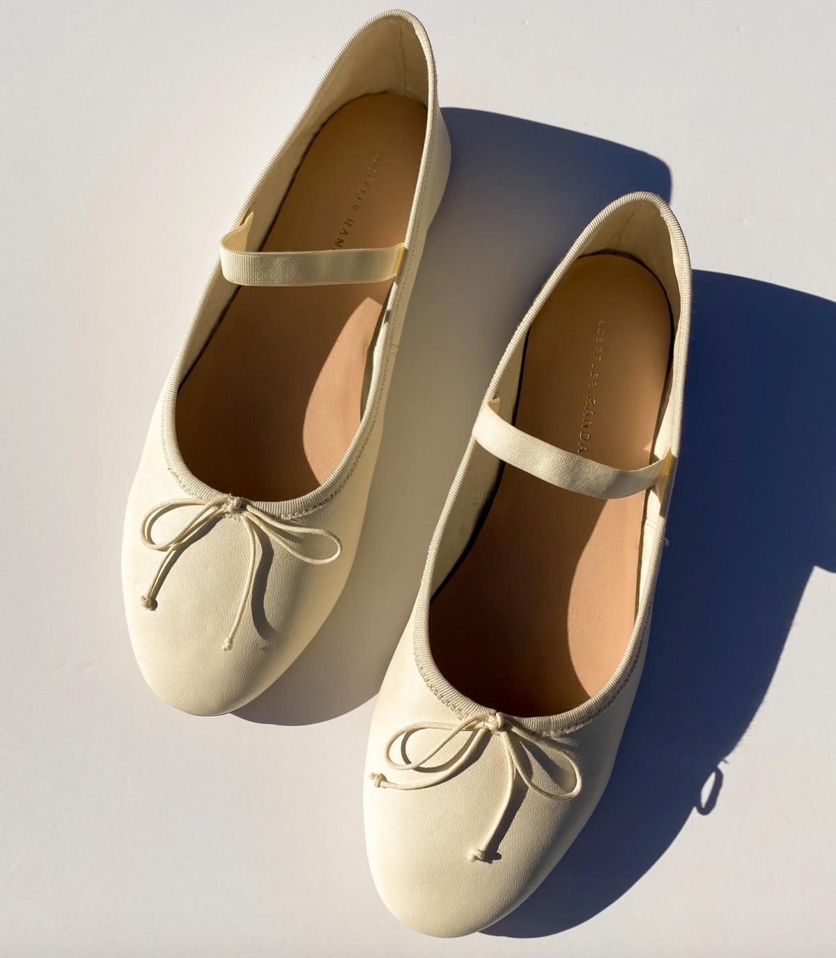 Leonie Soft Ballet Flat, Bone Nappa