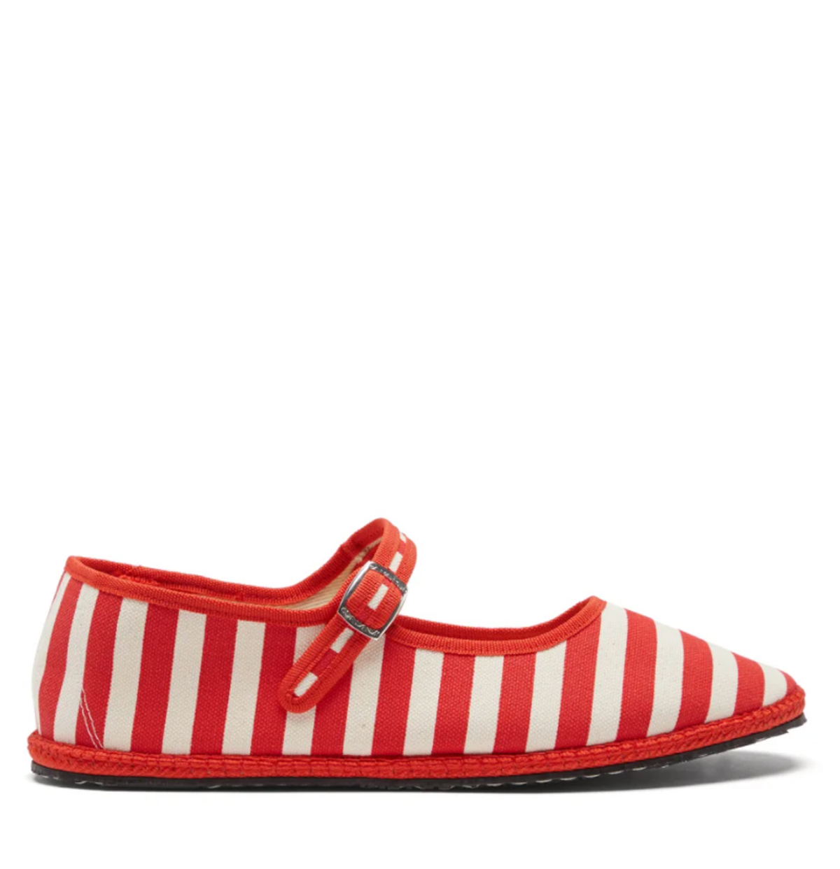 Striped Canvas Mary Jane Flats