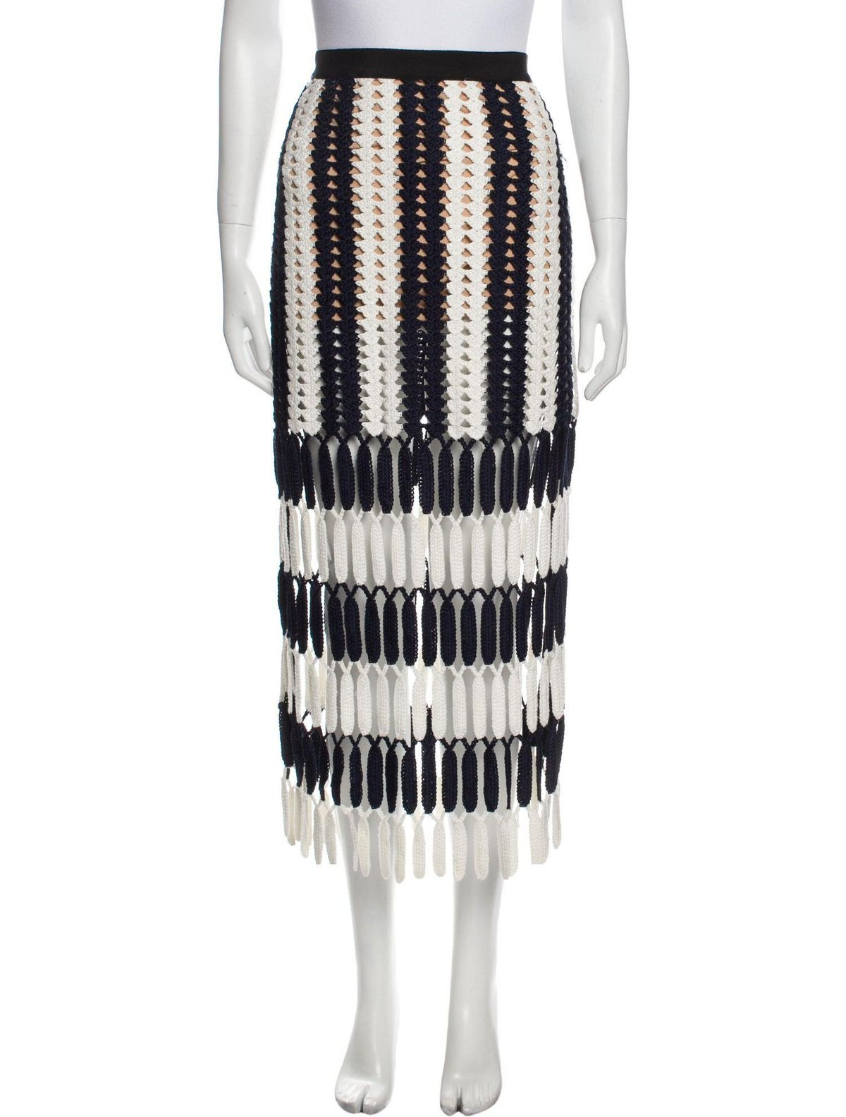 self portrait striped midi length skirt