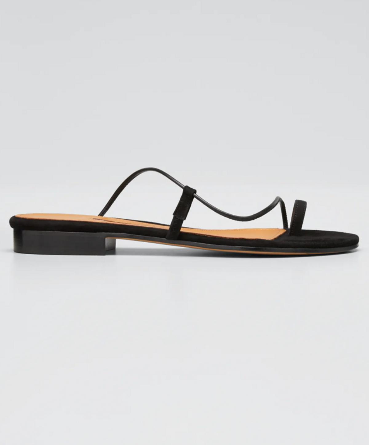 Susan Toe Ring Leather Slide Sandals