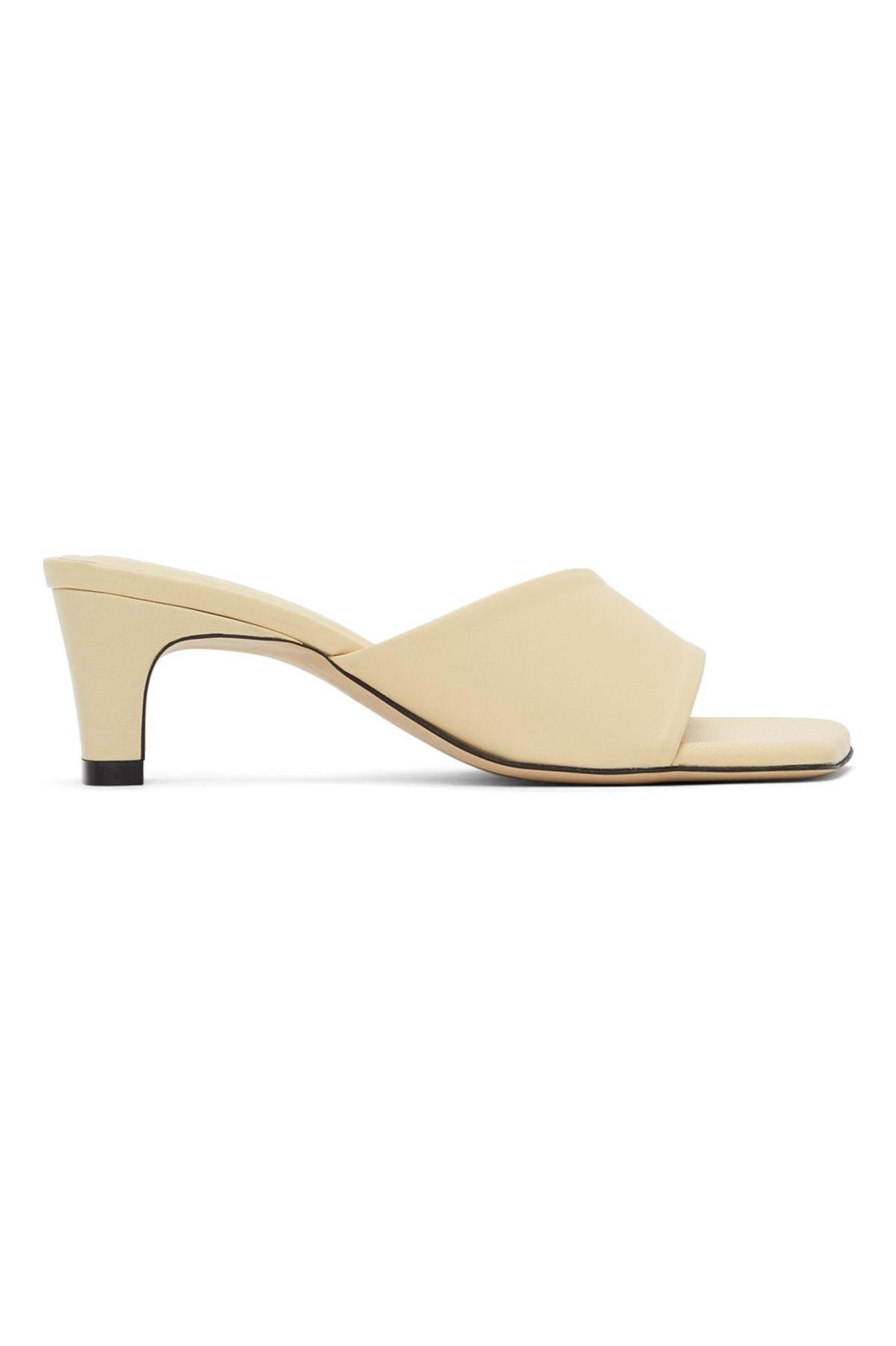 Beige Slide Heeled Sandals
