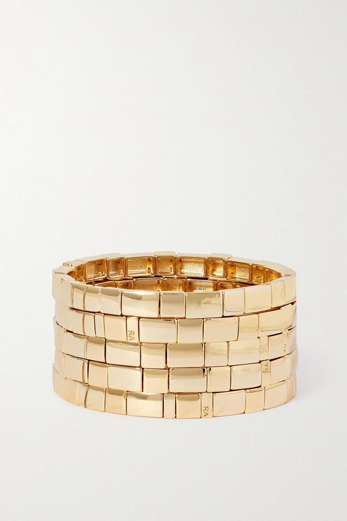 Brick by Brick Set of Five Gold Tone Bracelets