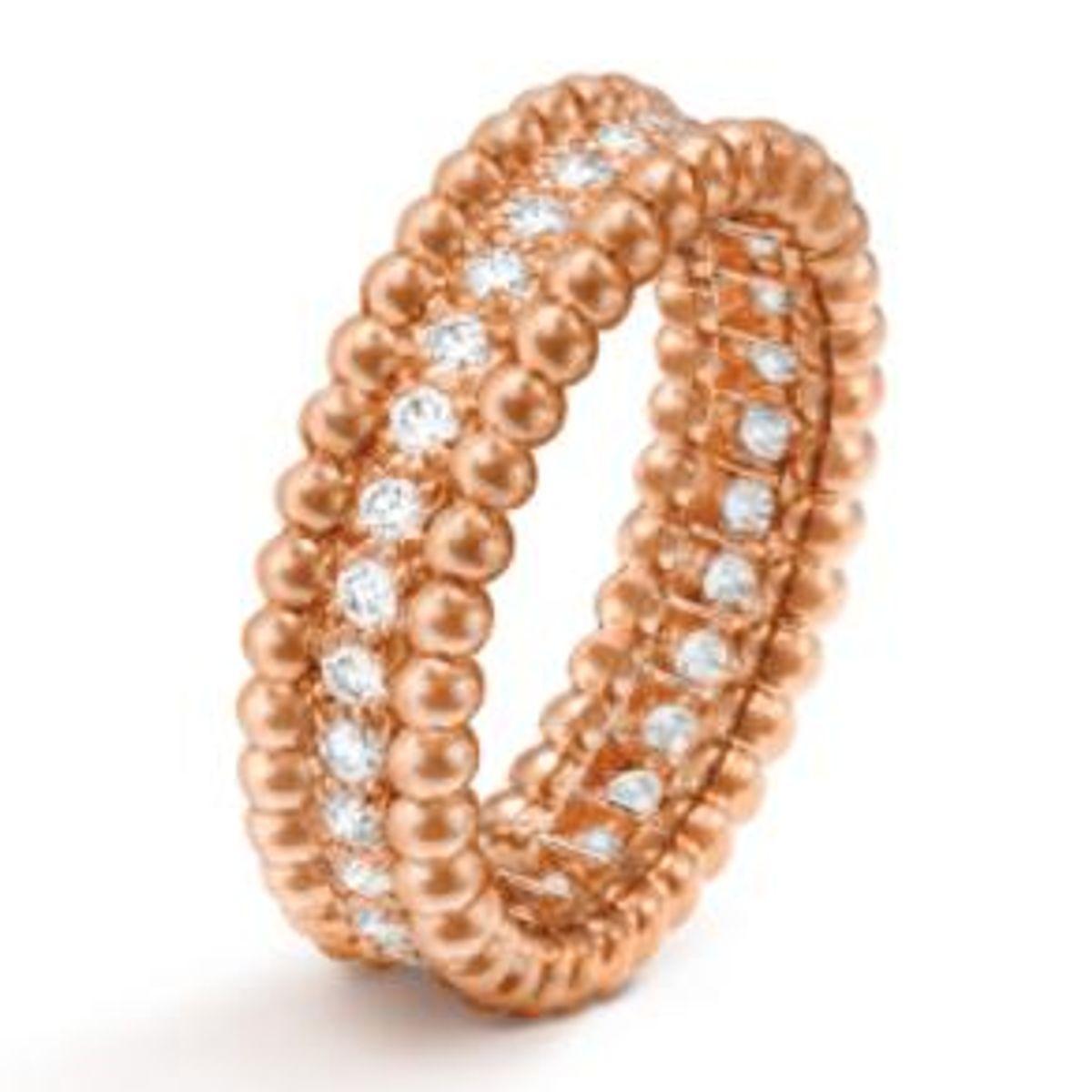 van cleef and arpels perlee diamonds ring 1 row