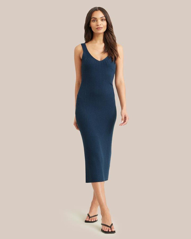 Yuna V-neck Ribbed Dress