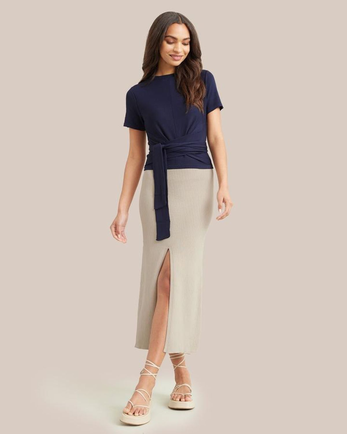 Lily Ribbed Cotton Front Slit Knit Skirt