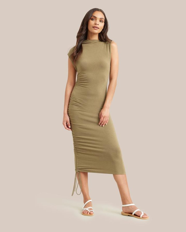 Rielle Asymmetrical Ruched Midi Dress