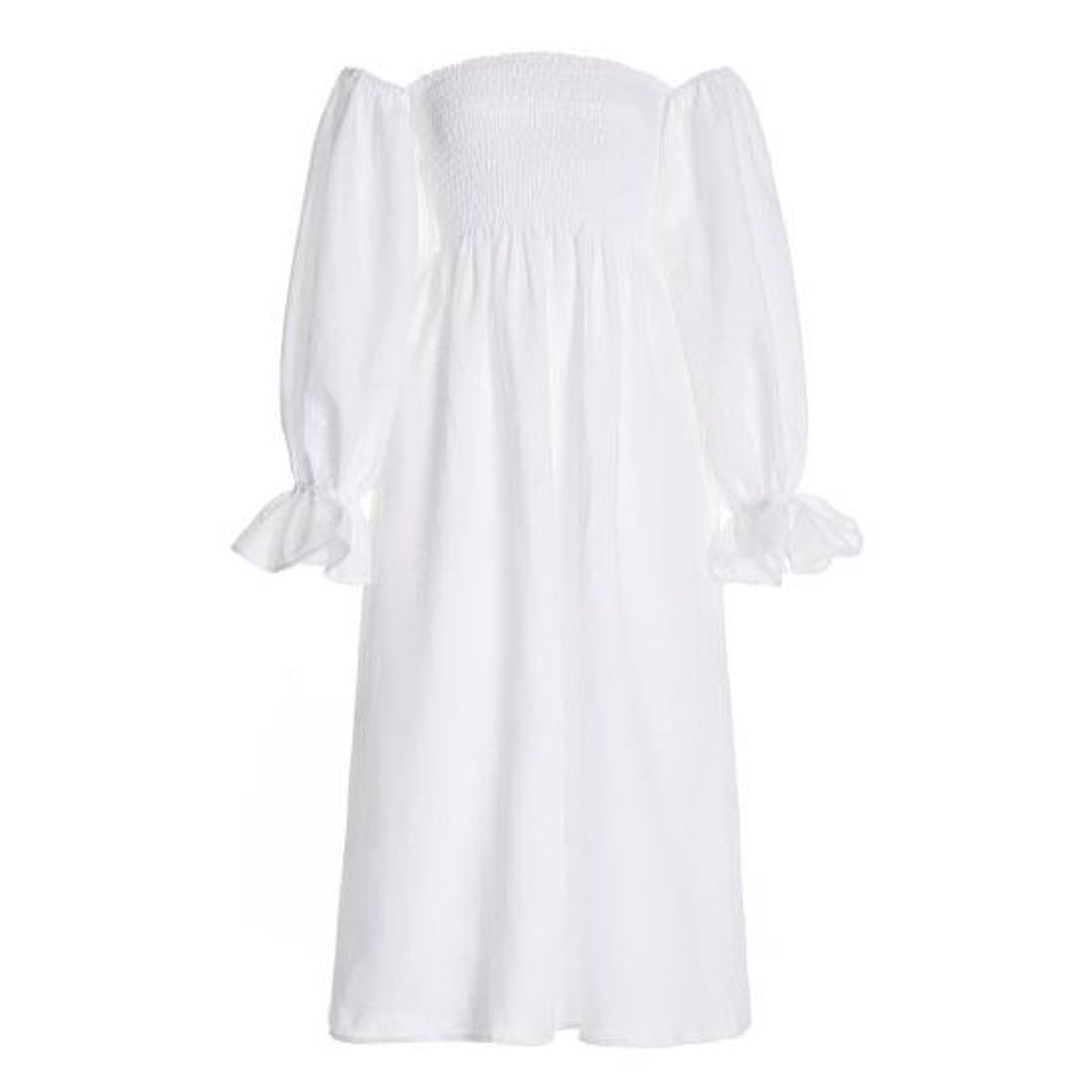 sleeper atlanta smocked linen off the shoulder midi dress