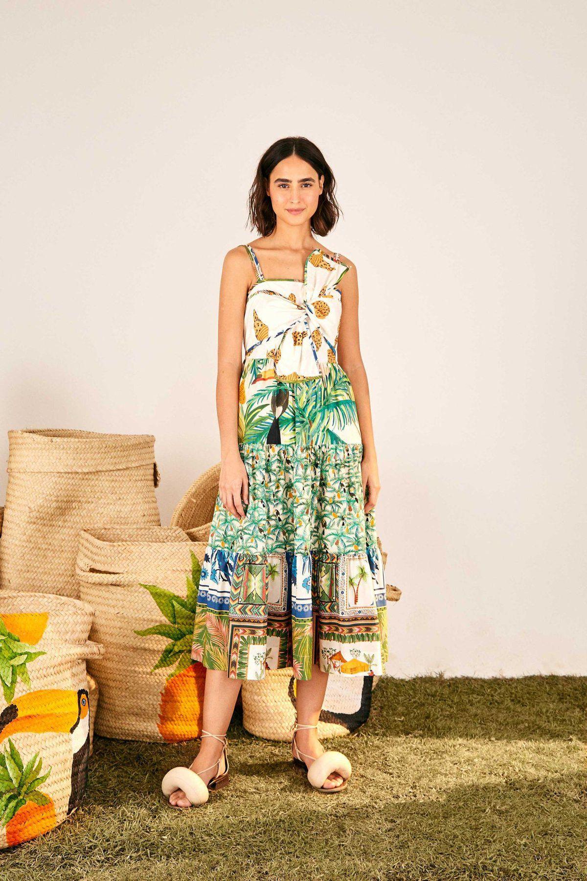 Mixed Prints Bow Top Midi Dress