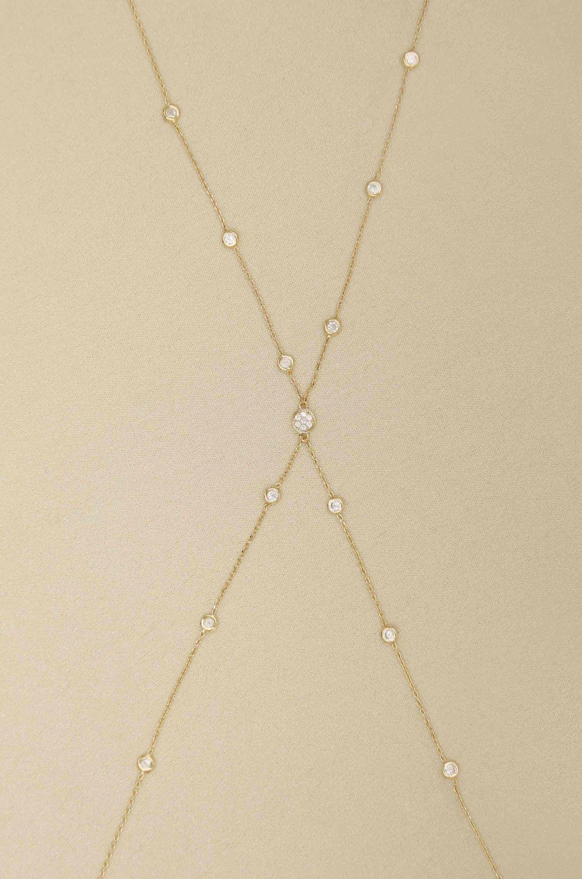 ettika simple crystal x body chain