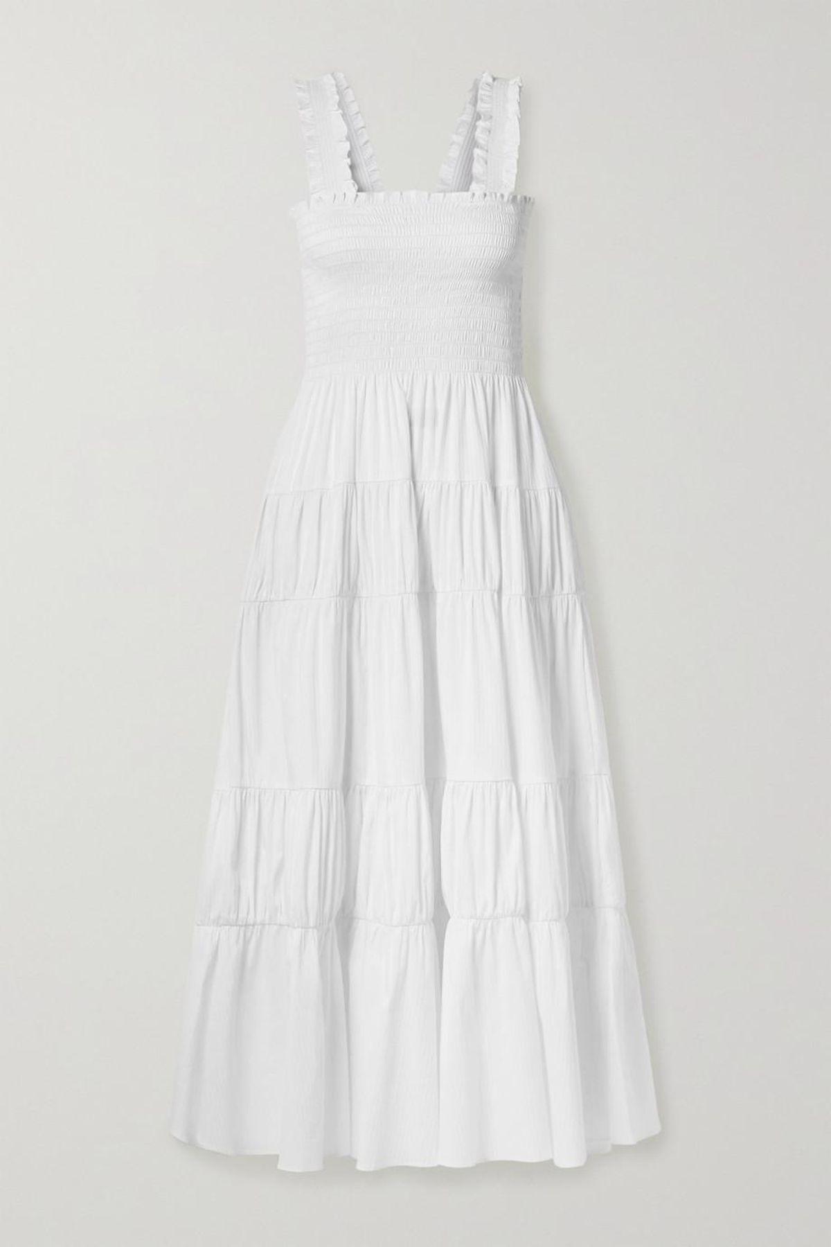 Vera Smocked Cotton Blend Mini Dress