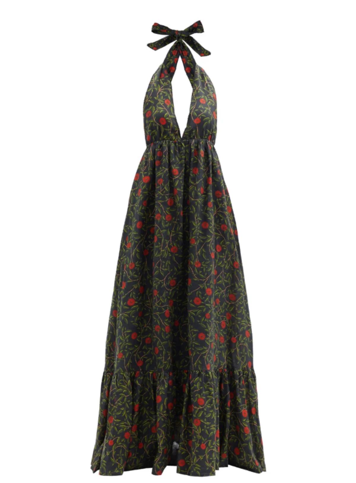 Olivia Halterneck Floral-print Linen Maxi Dress