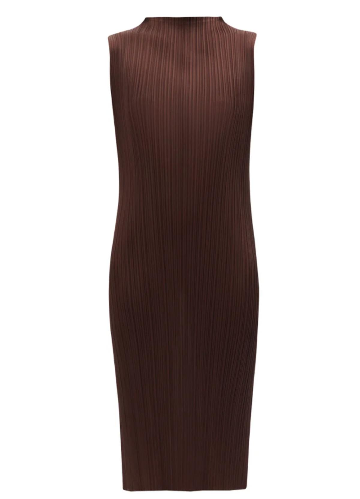 High Neck Technical Pleated Midi Dress