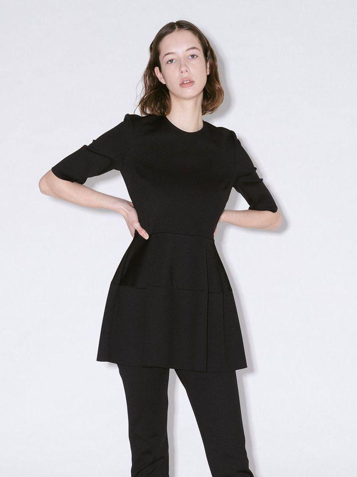 Fitted Short Sleeve Lantern Top