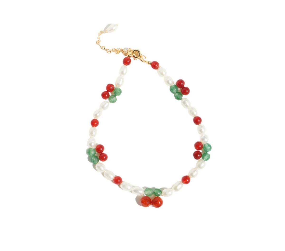 Cherry Pie Gemstone and Freshwater Pearl Bracelet