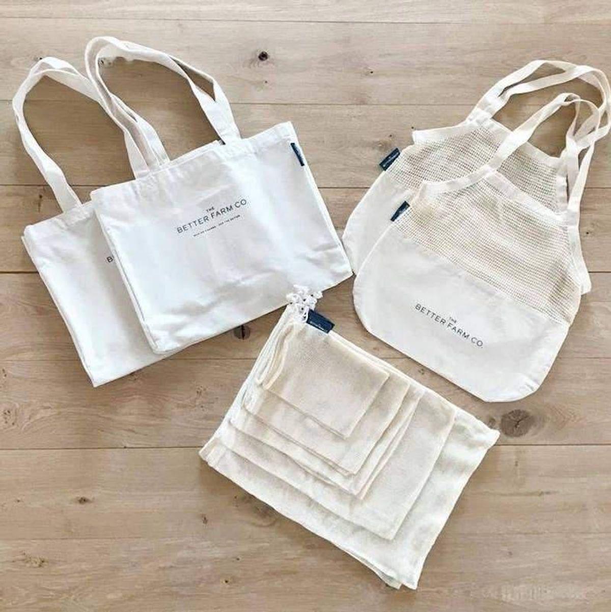 the better farm co organic cotton reusable shopping bag set