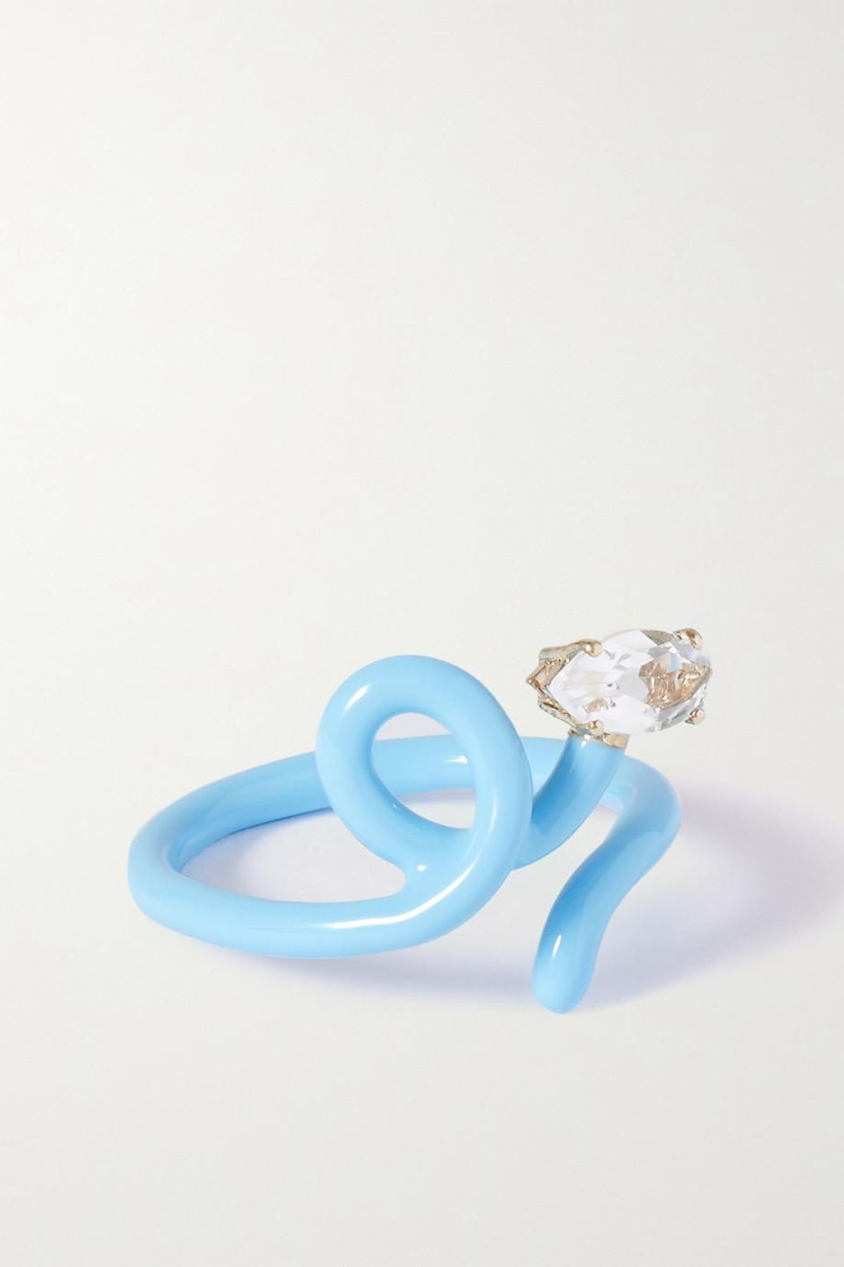 Baby Vine Tendril Gold, Silver, Enamel, and Rock Crystal Ring
