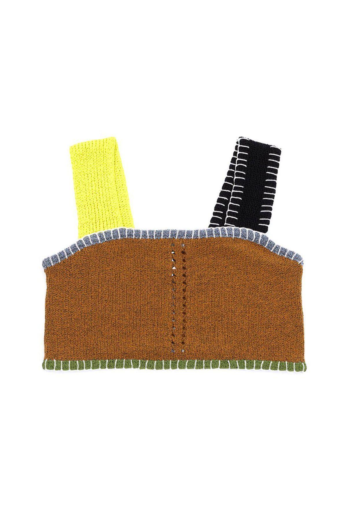 yanyan tweedle crop top in ochre tweed