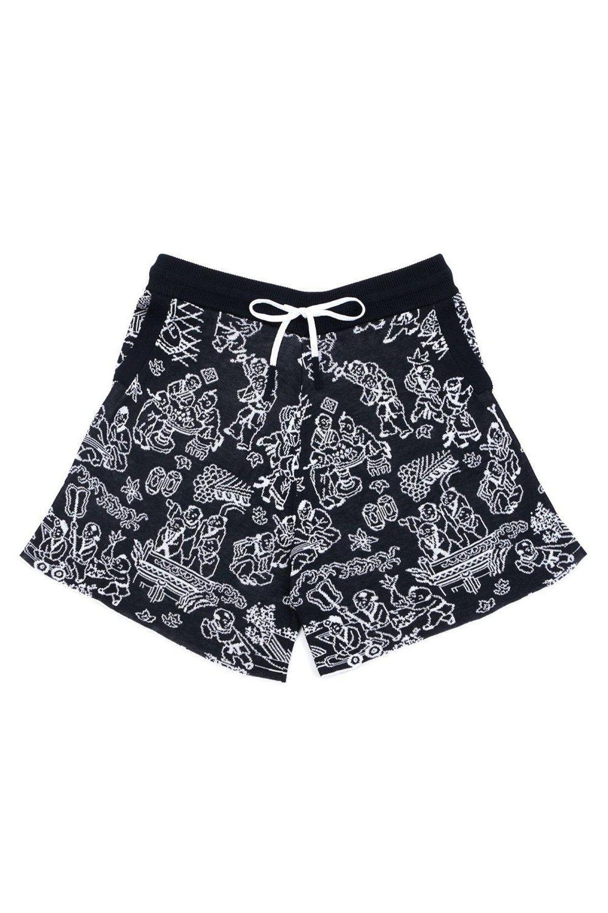 yan yan knits laza short in cotton jacquard