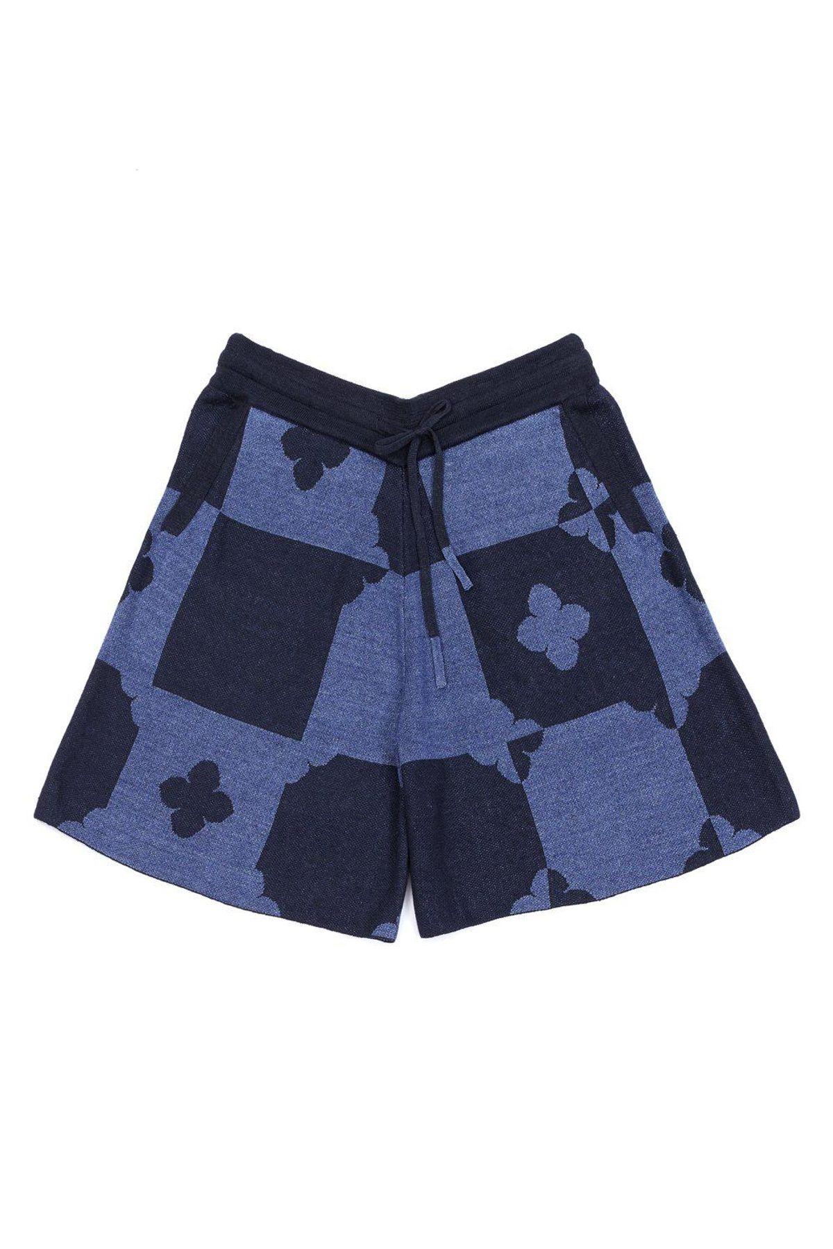 yanyan knits fongfong short in indigo linen