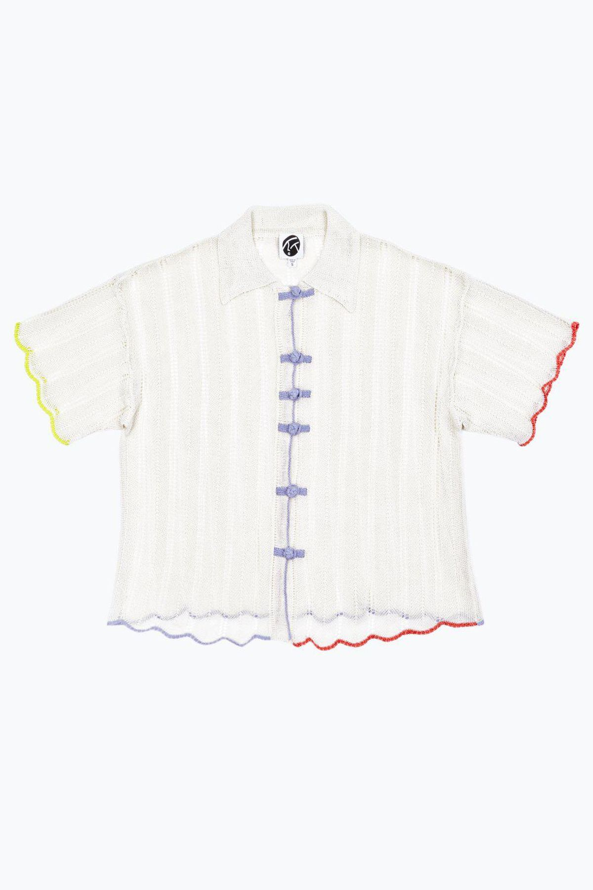 yanyan knits honey grandpa short sleeve shirt in ivory cotton cord