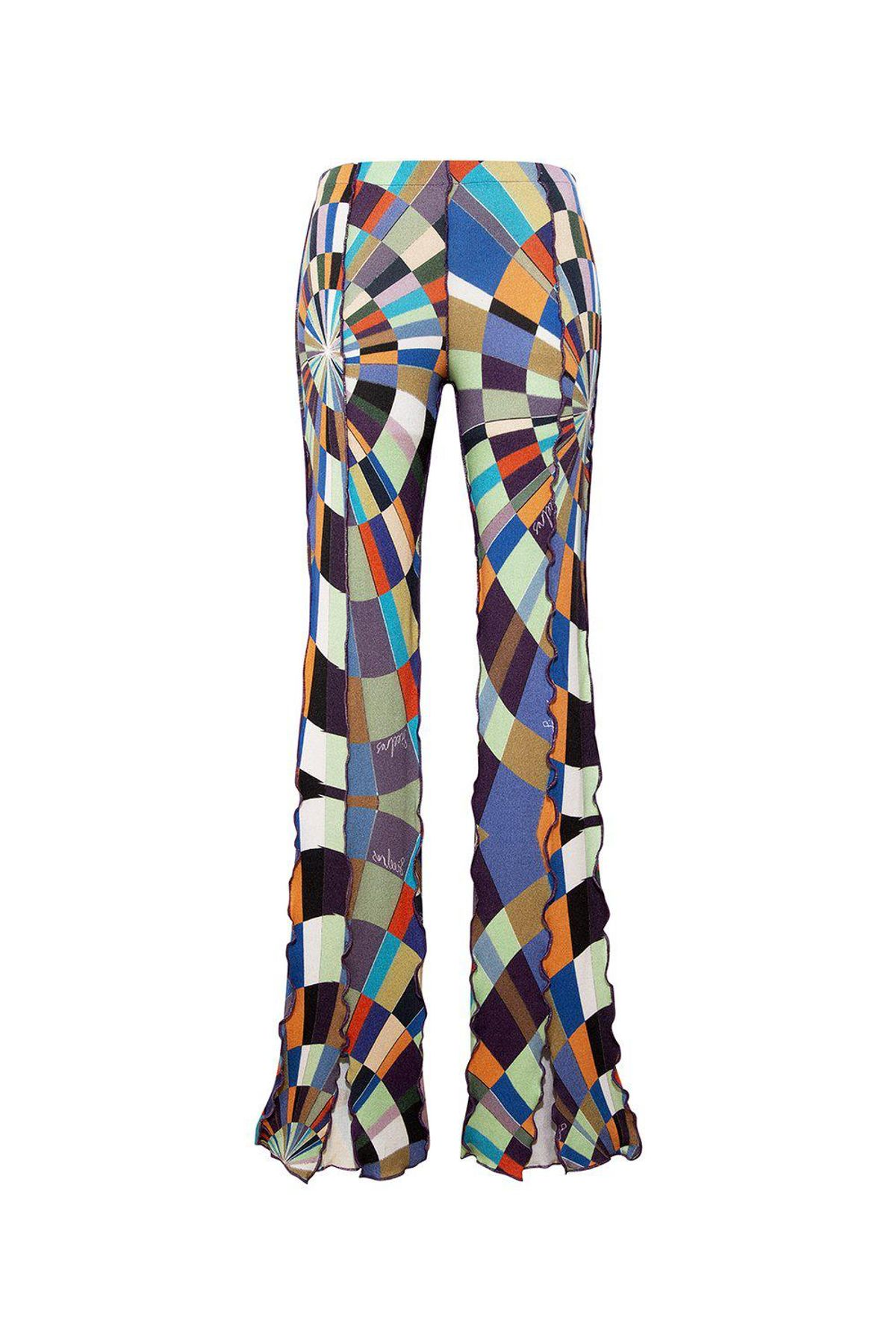 siedres mult front slit knit pants with colored stitch detail