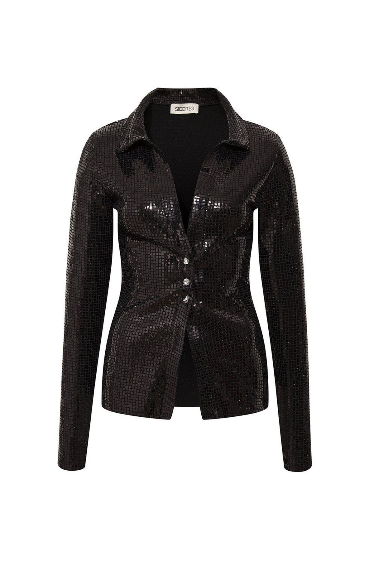 siedres issa black fitted sequined shirt