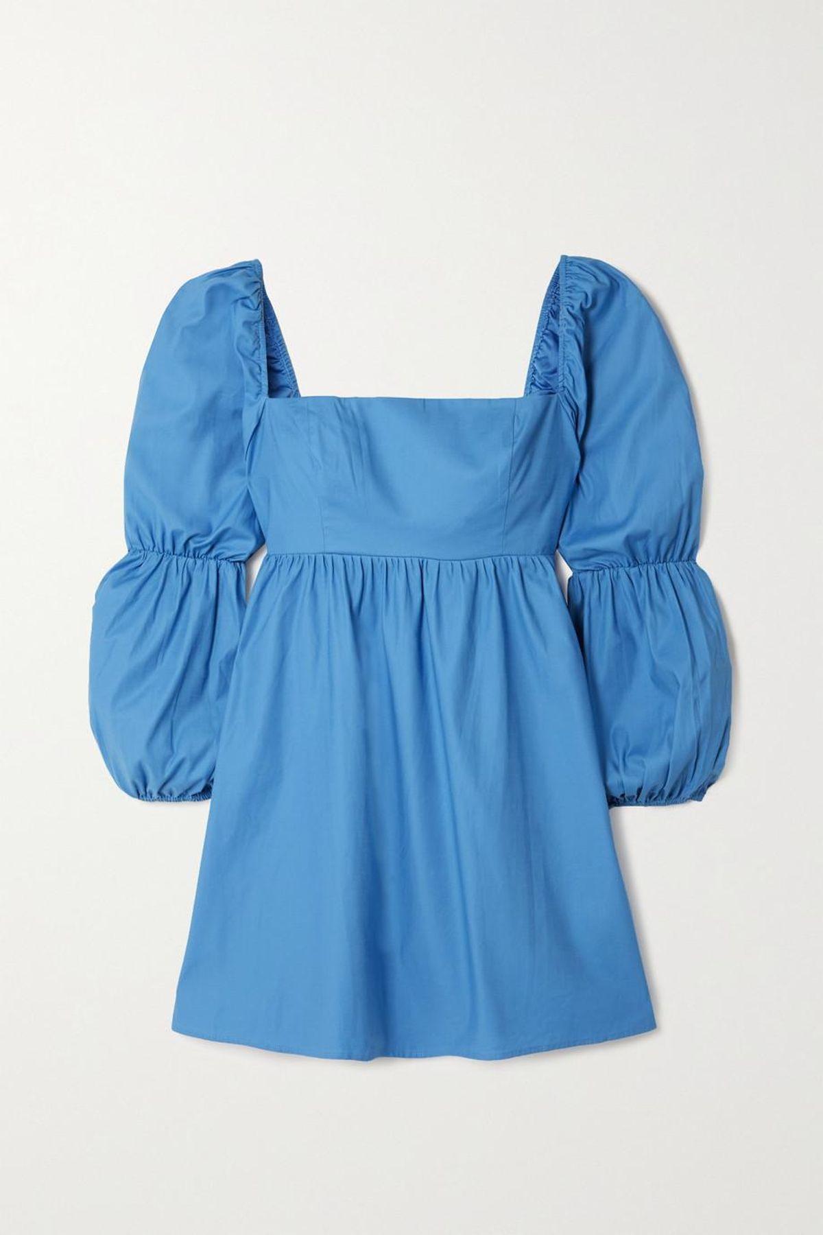 Michaela Gathered Organic Cotton-blend Poplin Mini Dress