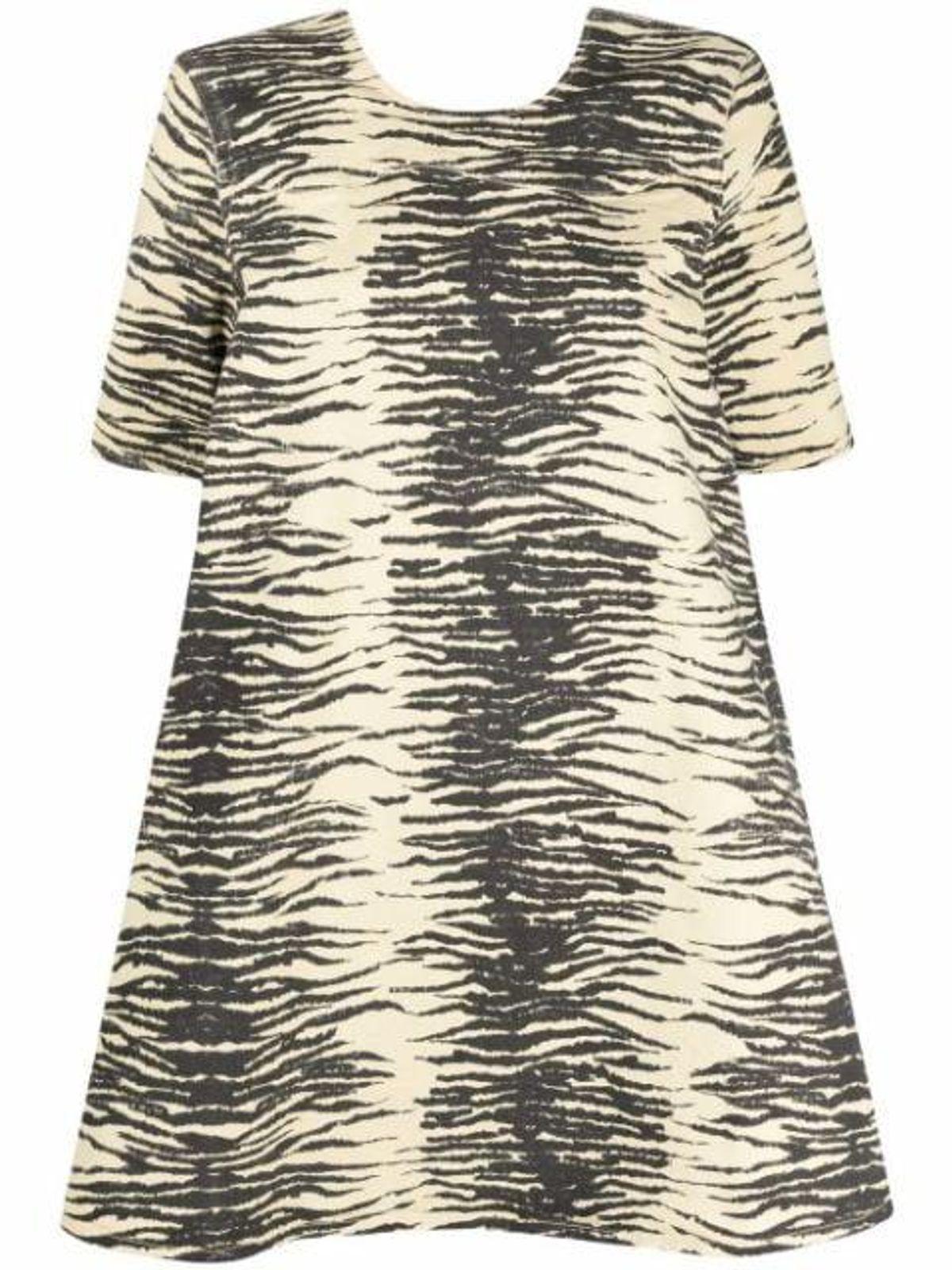 Animal Print Denim Babydoll Dress