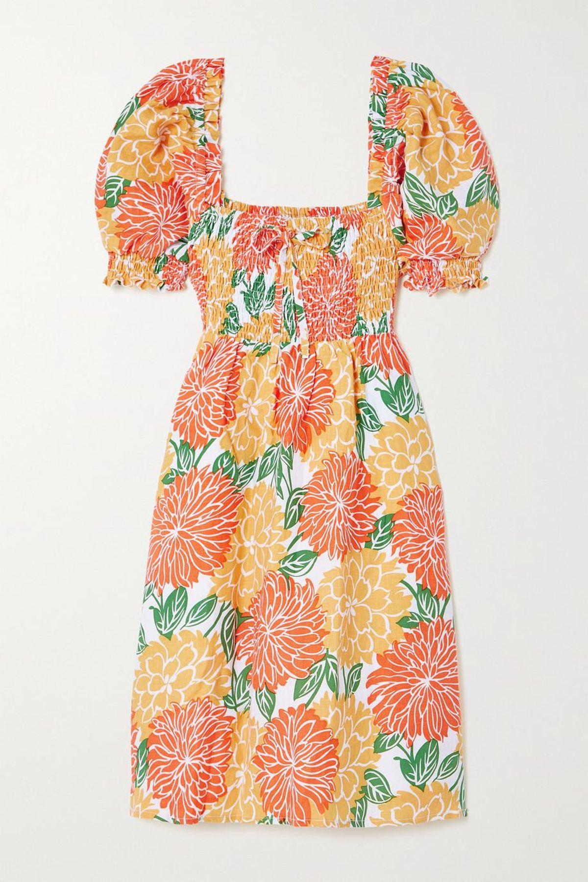 Miguelina Floral-print Shirred Linen Mini Dress