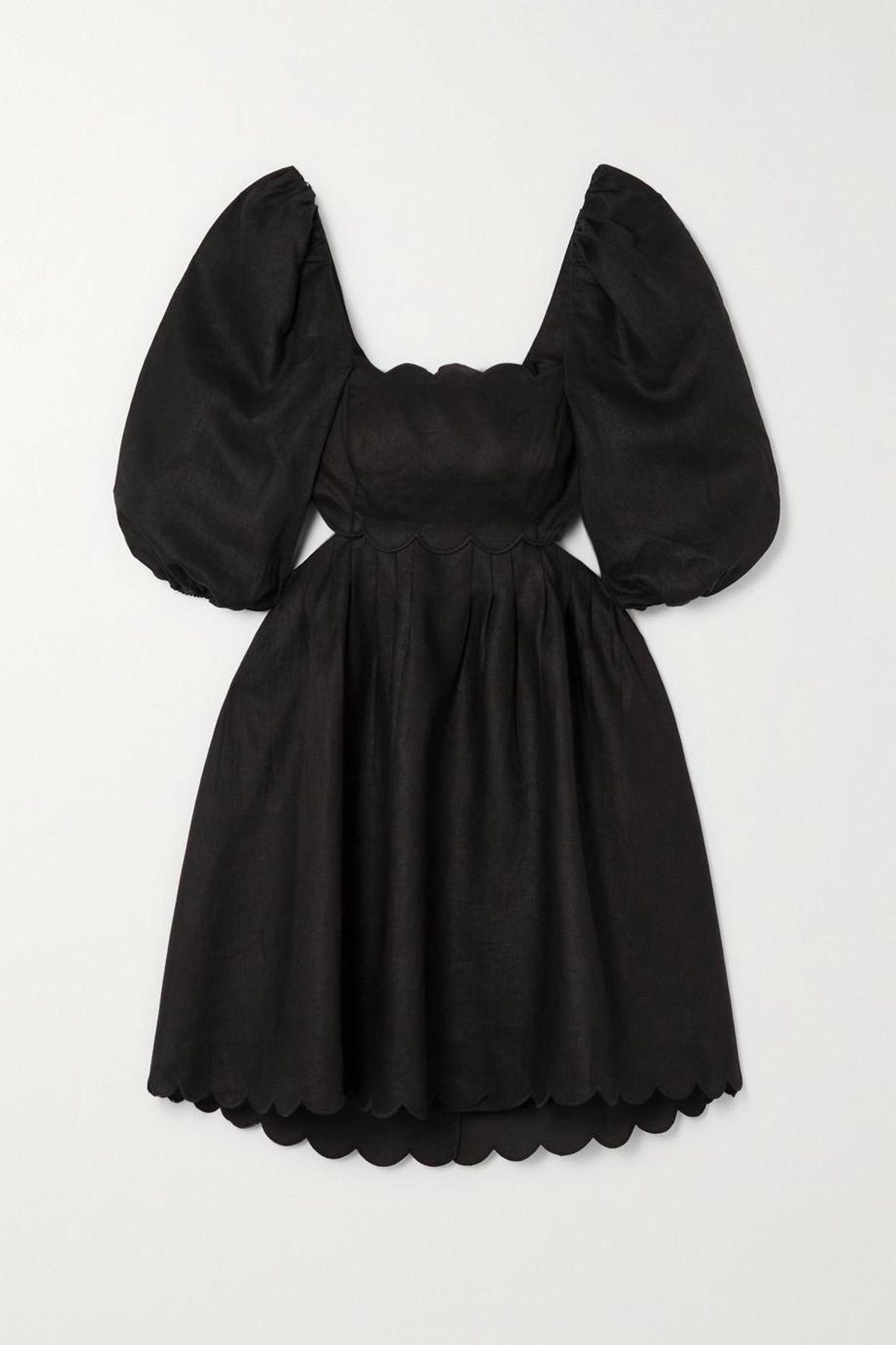 Mae Cutout Scalloped Linen Mini Dress