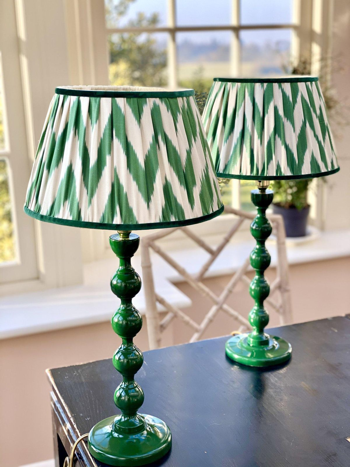 Green Silk Ikat Lampshade