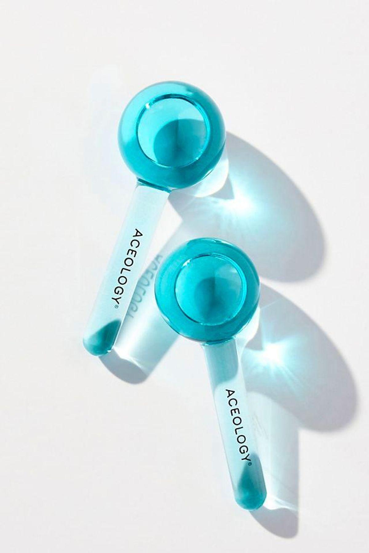 aceology the original blue ice globe facial massage tool set