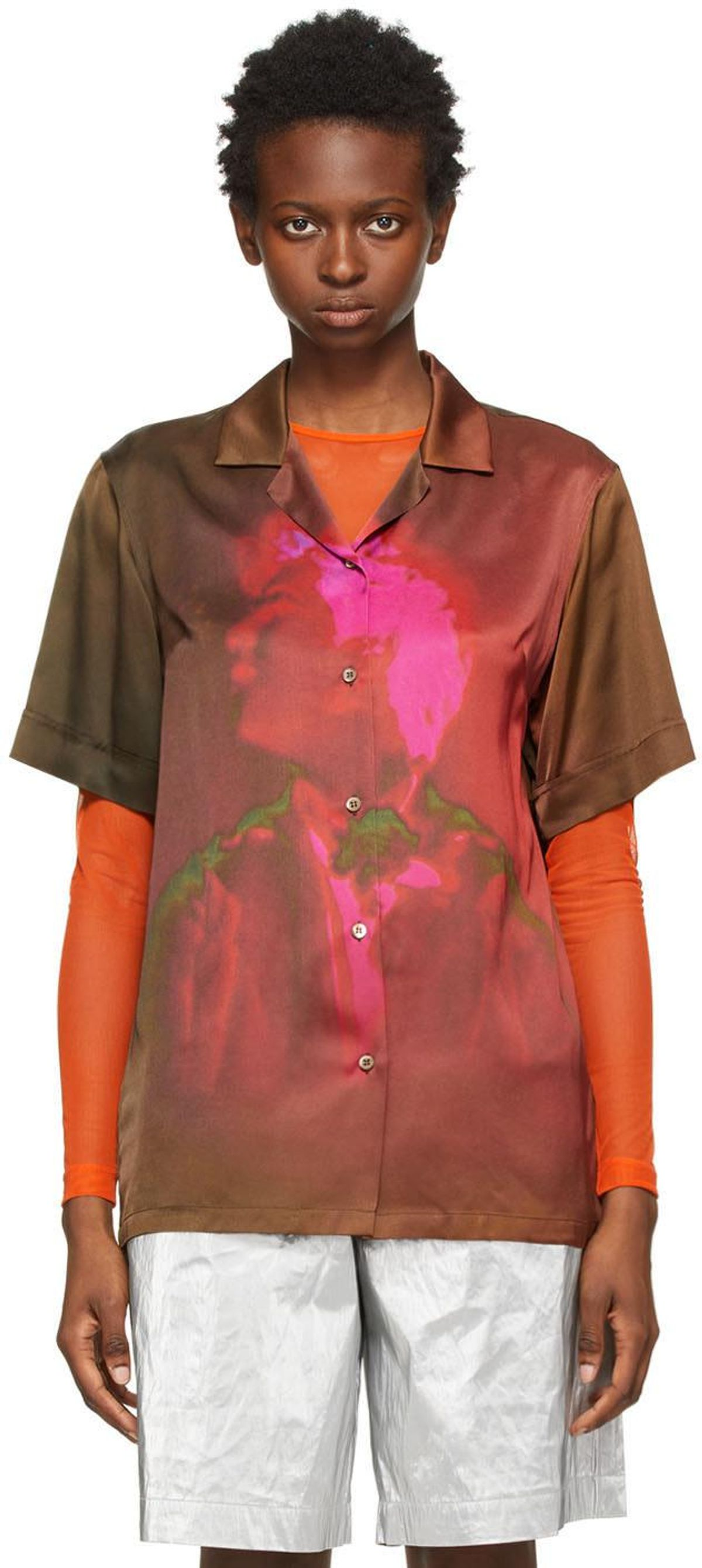 Len Lye Edition Satin Printed Short Sleeve Shirt