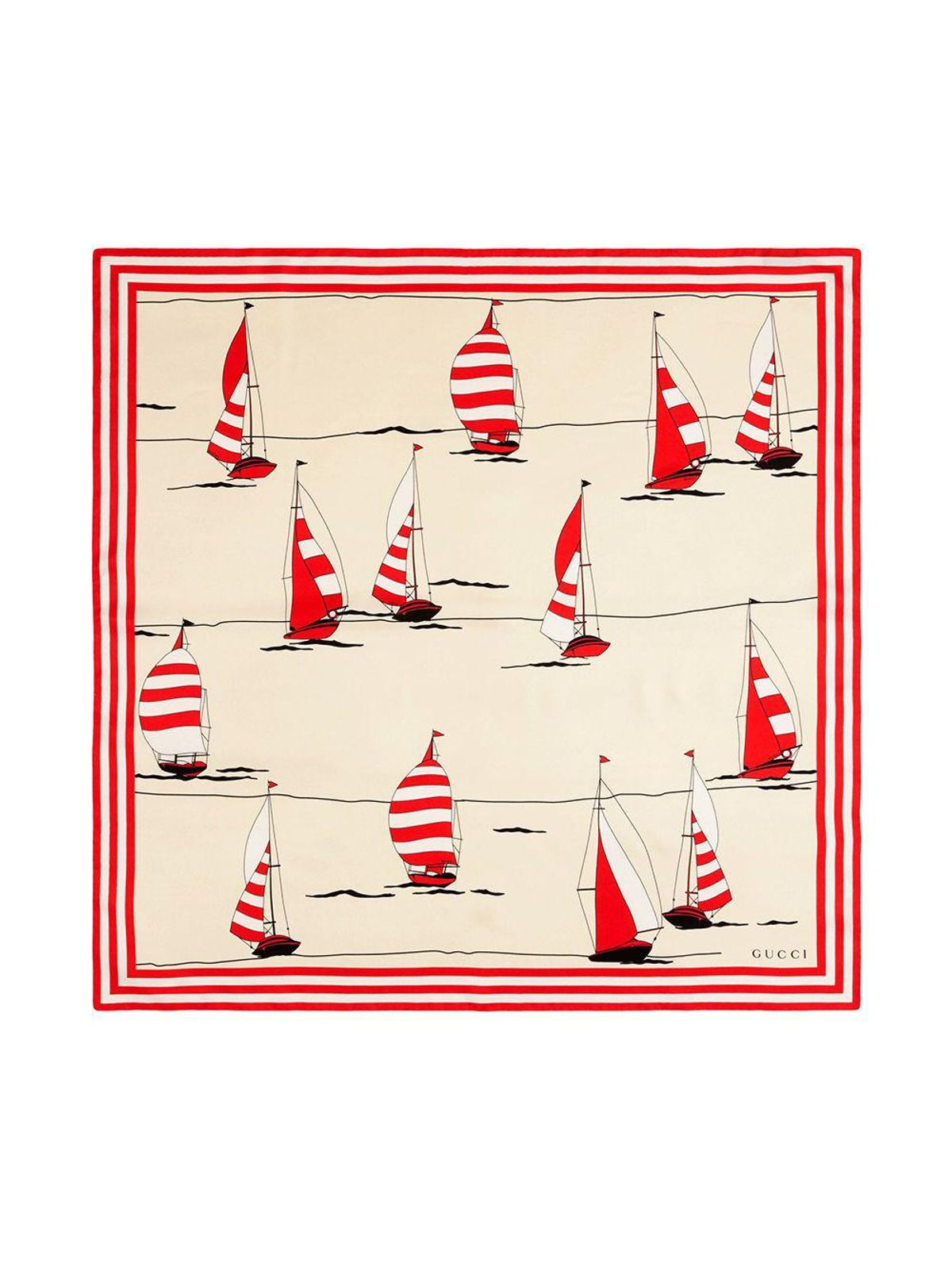 Nautical-print Silk Scarf
