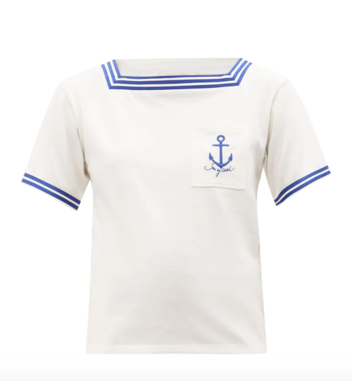 Anchor-embroidered Cotton-jersey T-shirt