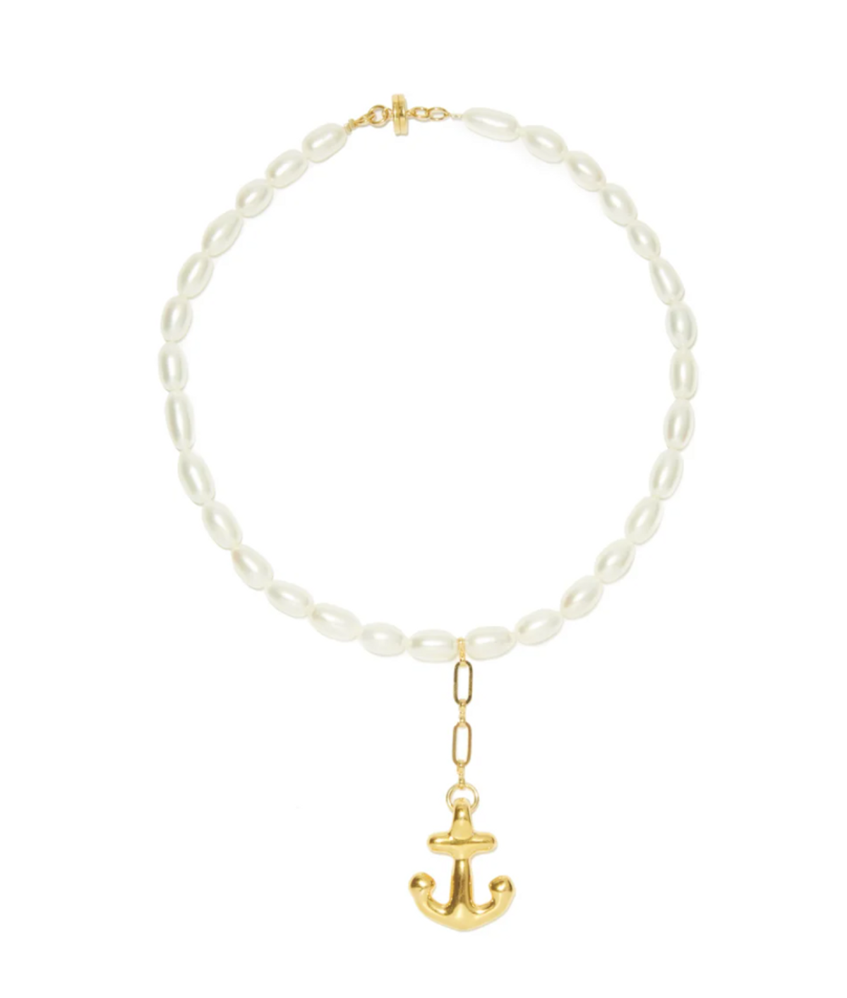 Anchor Charm Pearl & 24kt Gold-plated Necklace
