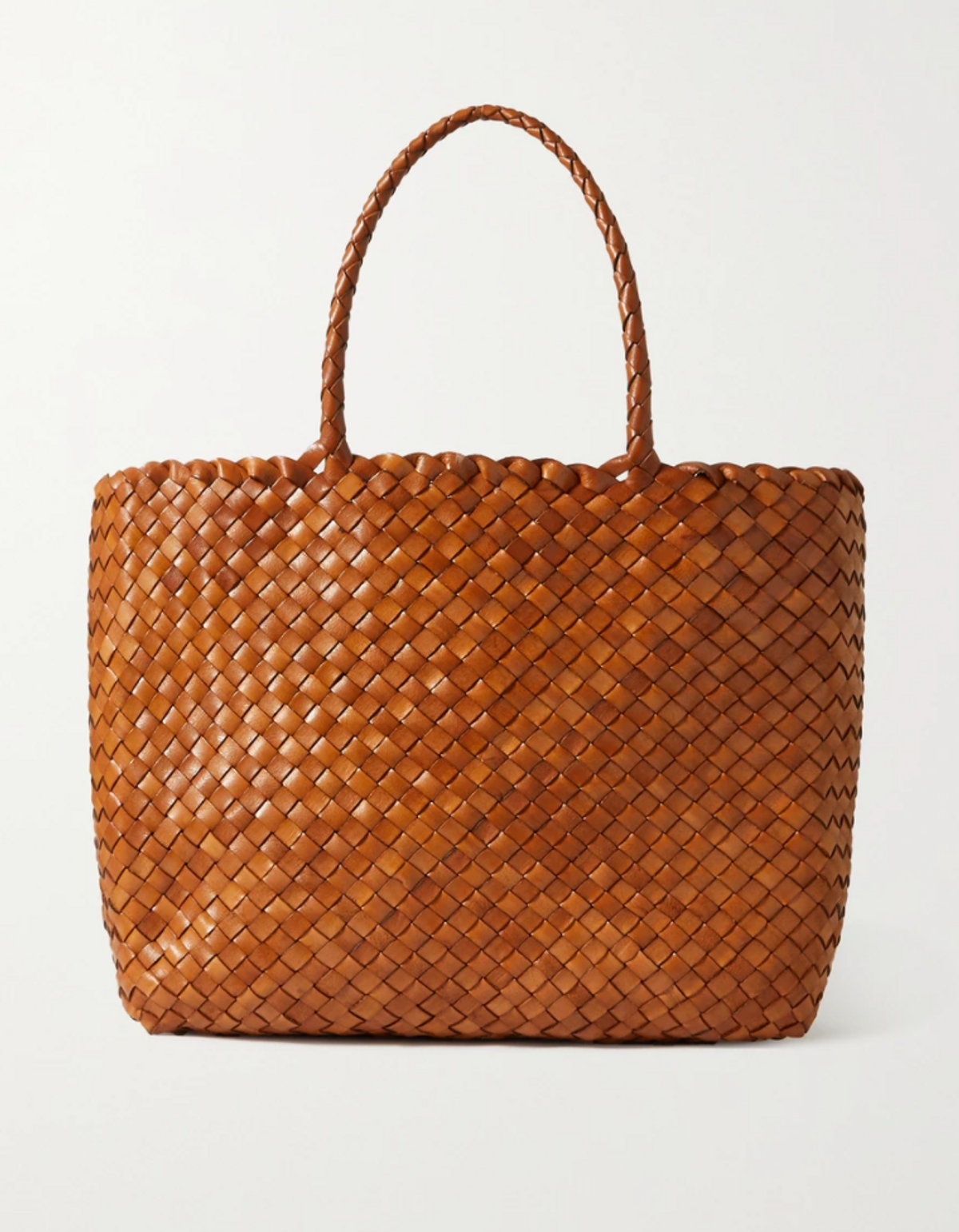 Lunch Basket Woven Leather Tote