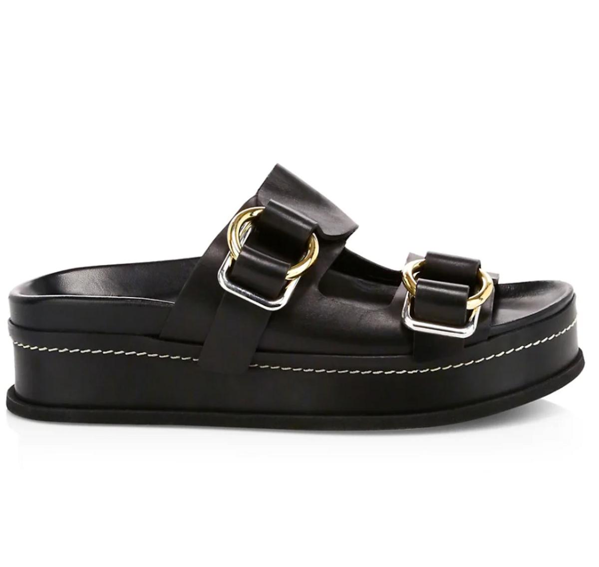 Freida Buckle Leather Flatform Sandals