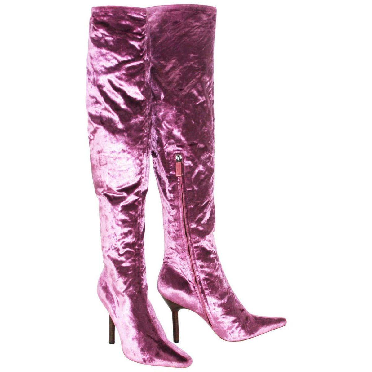 Tom Ford for Gucci Vintage F/W 1999 Pink Velvet Over Knee Boots