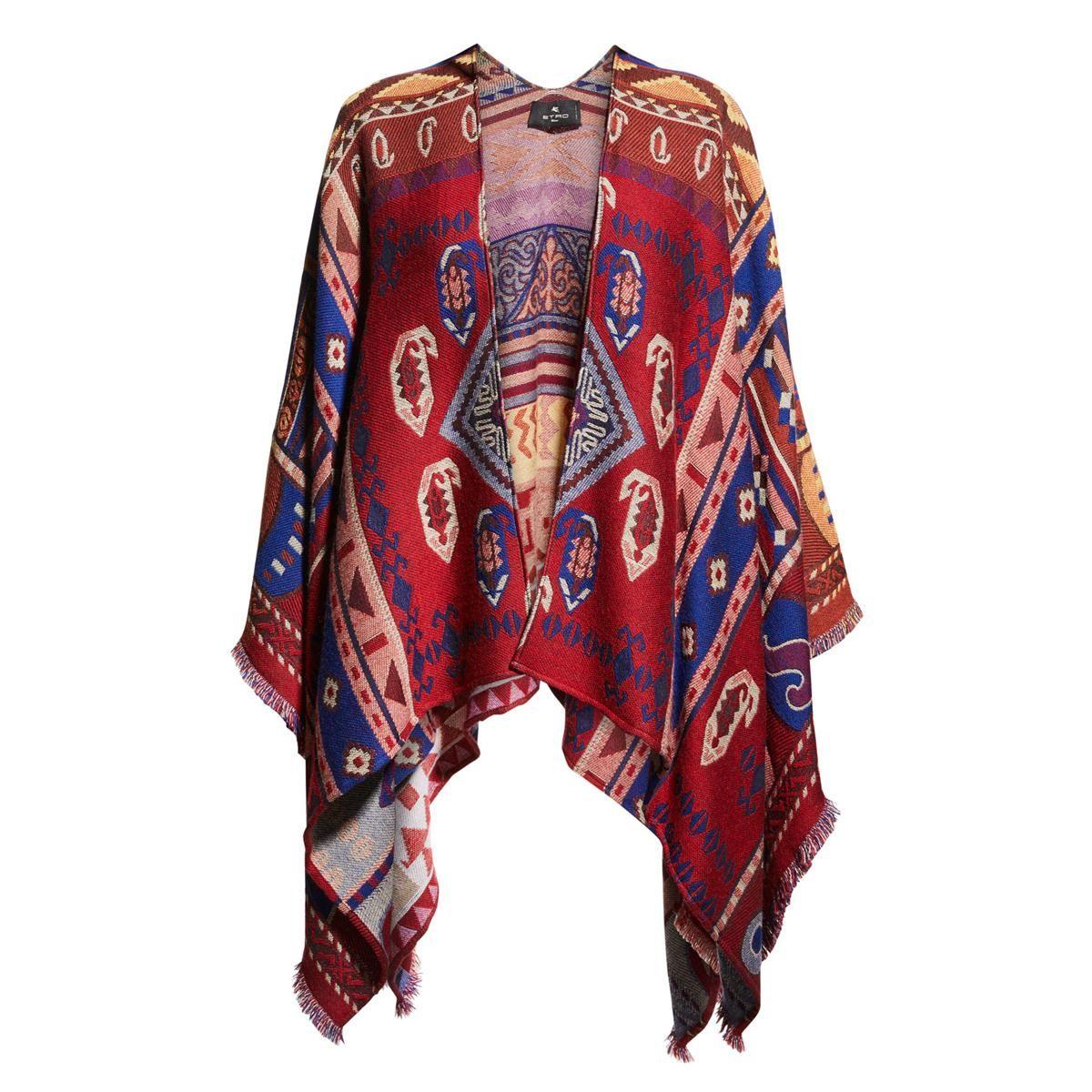 etro aztec print wool cape