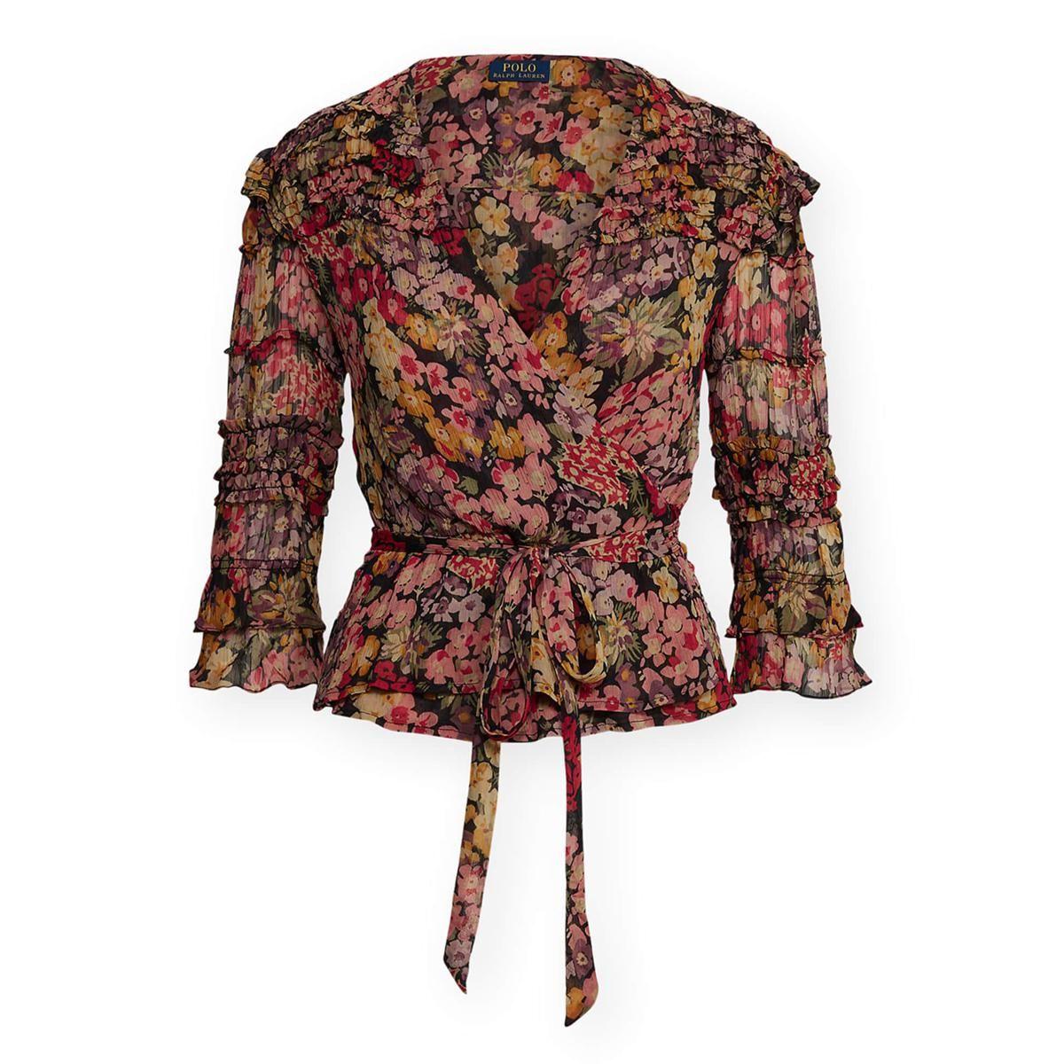 polo ralph lauren floral print wrap blouse