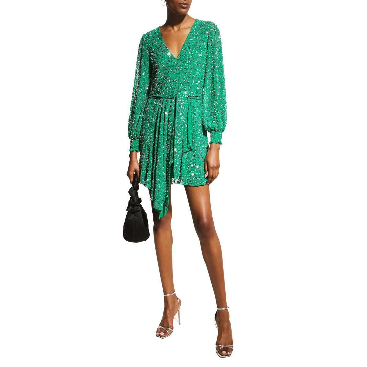 alice and olivia kieran embellished mock wrap dress